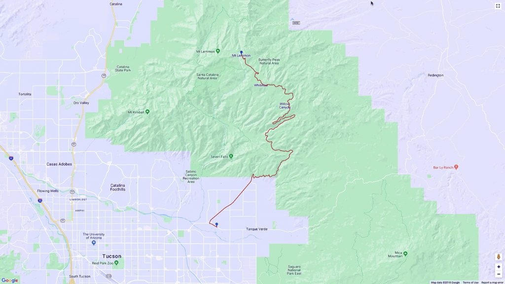 Mt. Lemmon Scenic Byway Route.