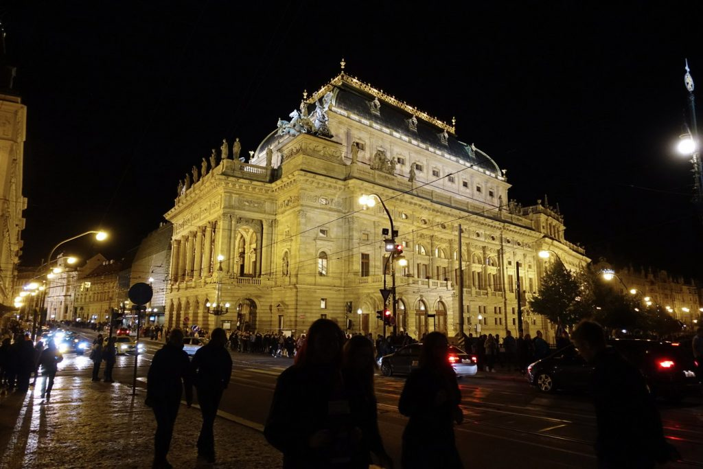 Narodni Divadlo, the National Theatre in Prague, on the shores of the Vltava river.
