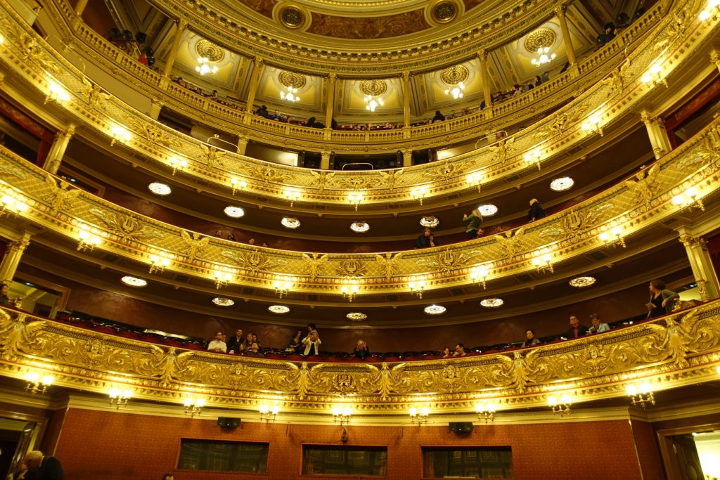 Inside the National Theatre in Prague.