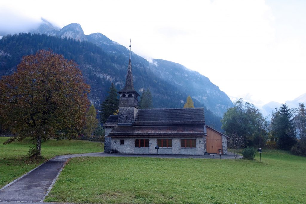 An old church in the Swiss mist.