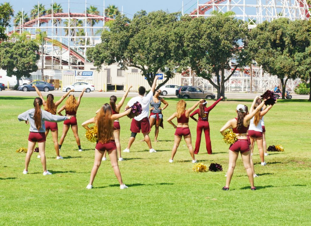 Practice cheerleading.