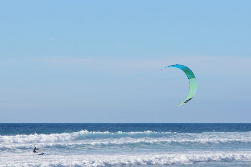 Kiteboarding on a windy day.