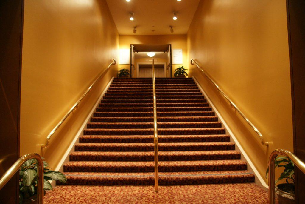 An elegant, wide stairwell.