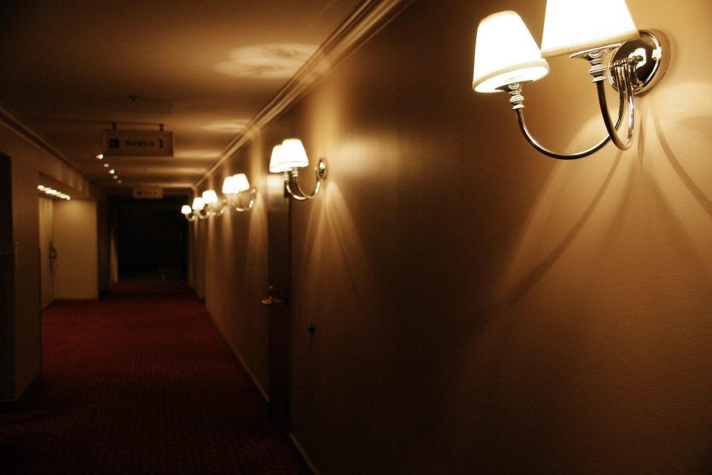 Understated lighting in the hallway.