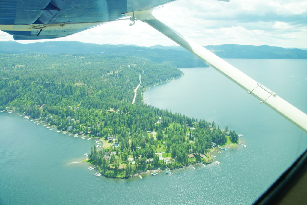 Resort homes near Coeur d'Alene, Idaho, viewed from a seaplane. Sweet.