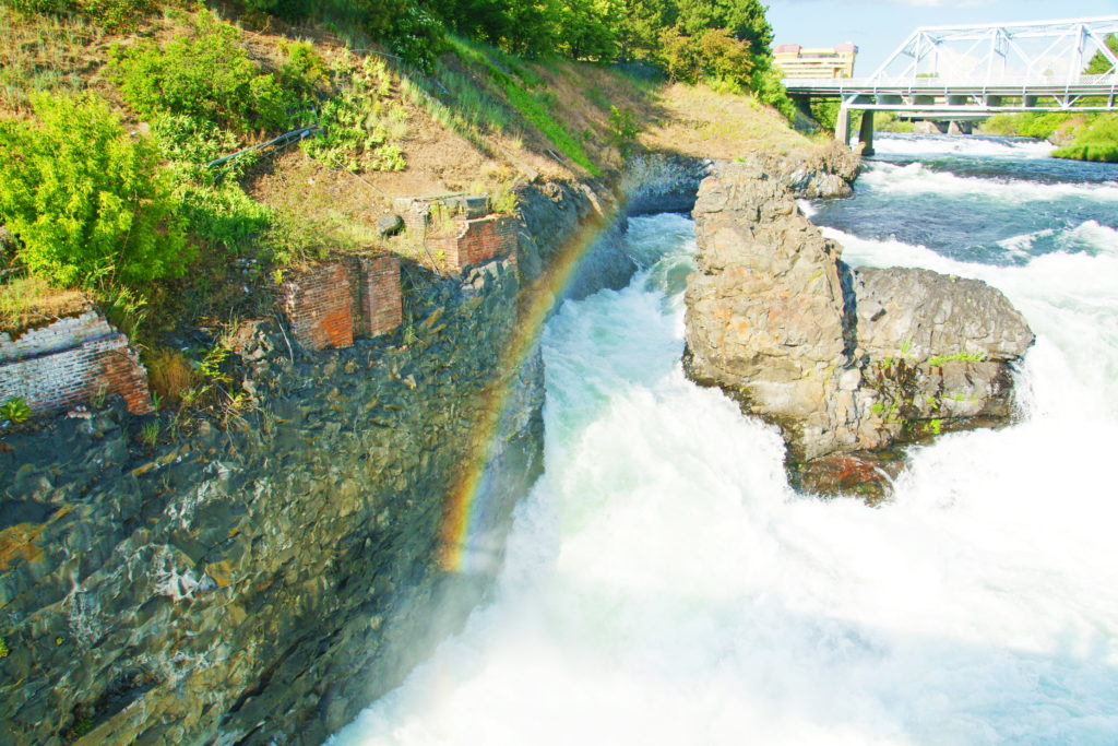 The Spokane river makes its own rainbow.