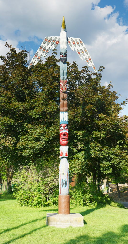 The Fort Wright Totem Pole near the Mukogawa Institute Commons building.