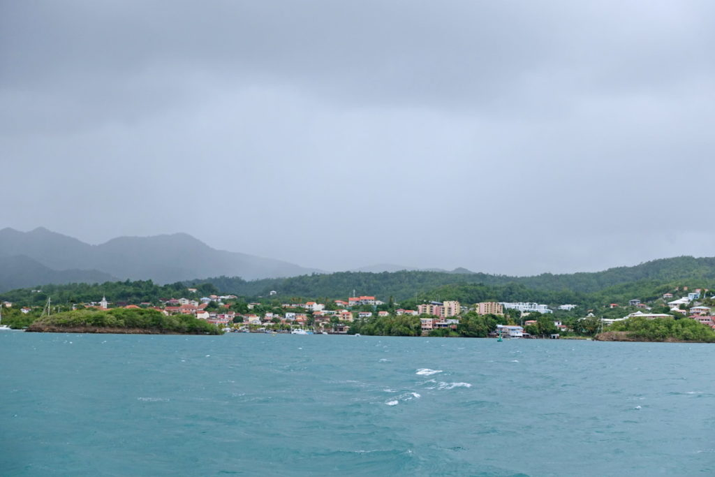The view as we approach Bourg des Trois-îlets. Looks like rain's a-comin'.