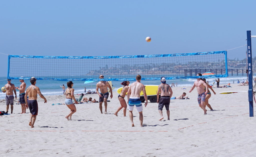Typical beach volleyball in San Diego.