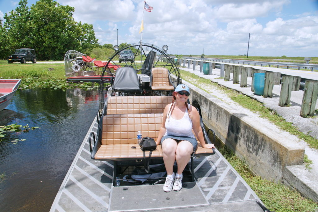 We await in our carriage, a private airboat.