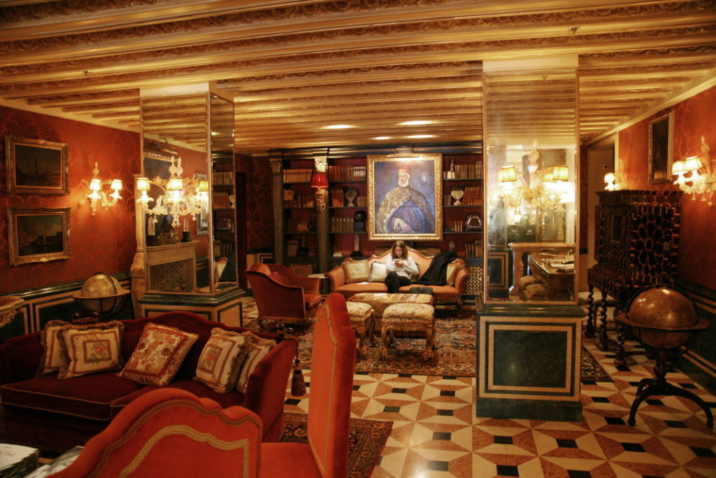 A sitting room at the Hotel Gritti Palace in Venice.