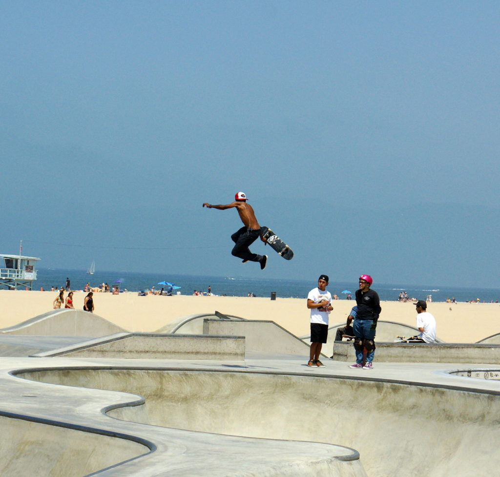 Venice Beach Skateboarder enjoying the Skate Park.