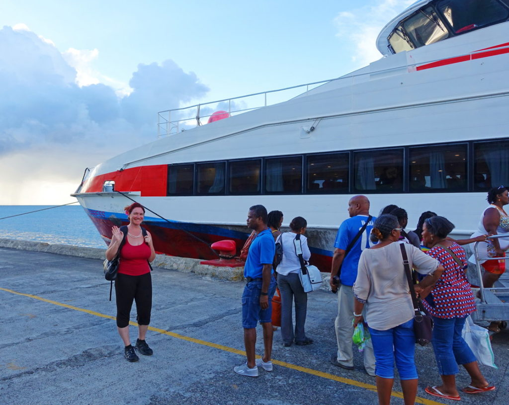 Boarding the Ferry to Martinique. Notice the clouds in the background.