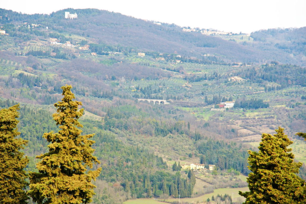 The view from Convento di San Francesco in Fiesole. Note the bridge in the center of the photograph.