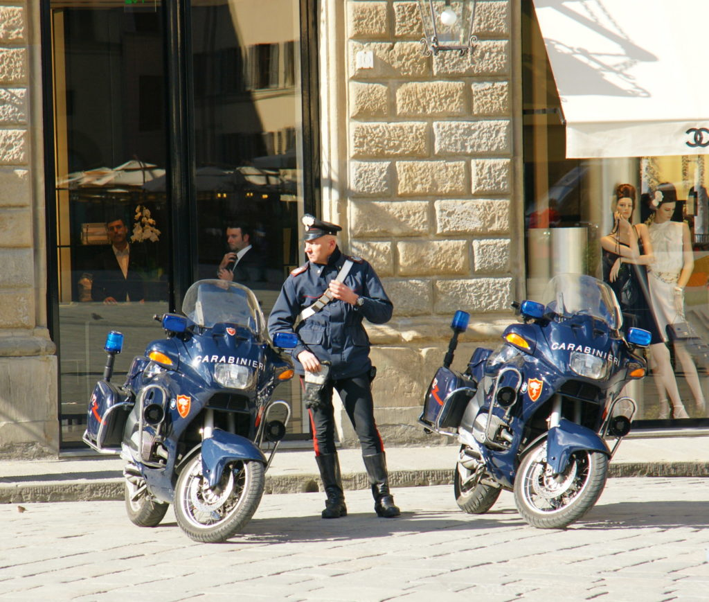 Everyone in Florence looks good: the police, the men eating dinner — even the mannequins.