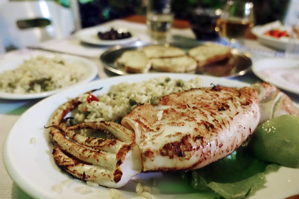 Calamari stuffed with cheese.  Yum!