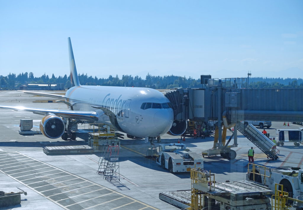 The aircraft that will carry us from Seattle to Frankfurt, Germany.