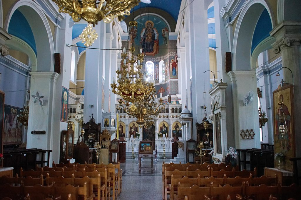 The interior is beautifully decorated in blue and white, the colors most associated with Greece.