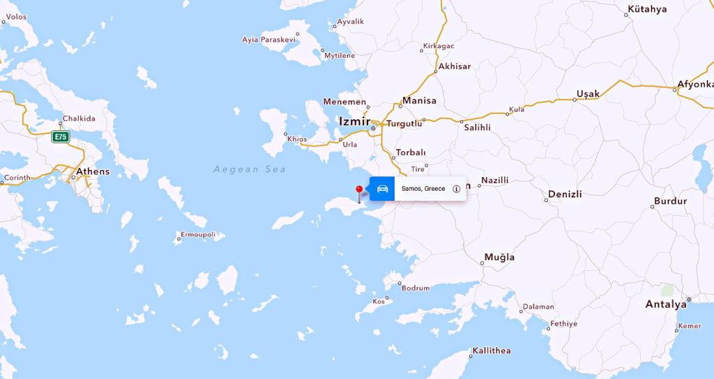 Samos, Greece, a stone's throw from Turkey.
