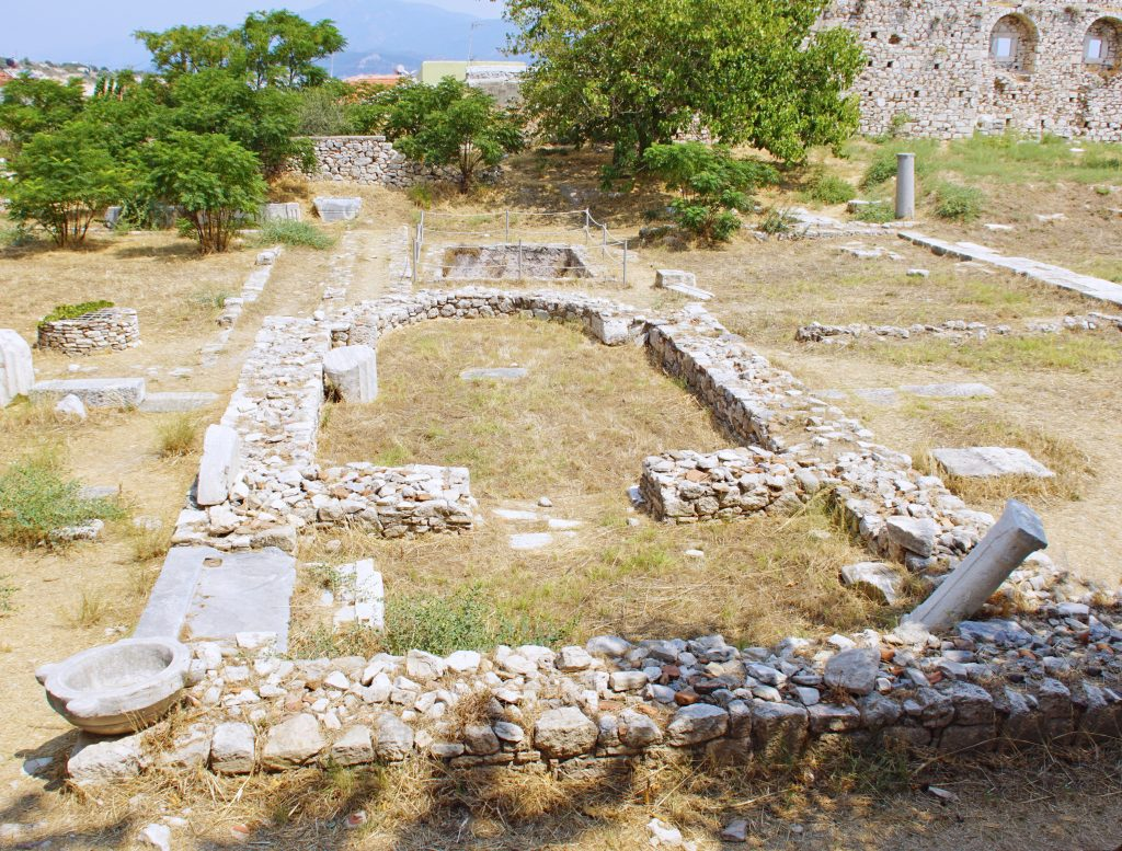 The outline of an early Christian Basilica is one of the central buildings.