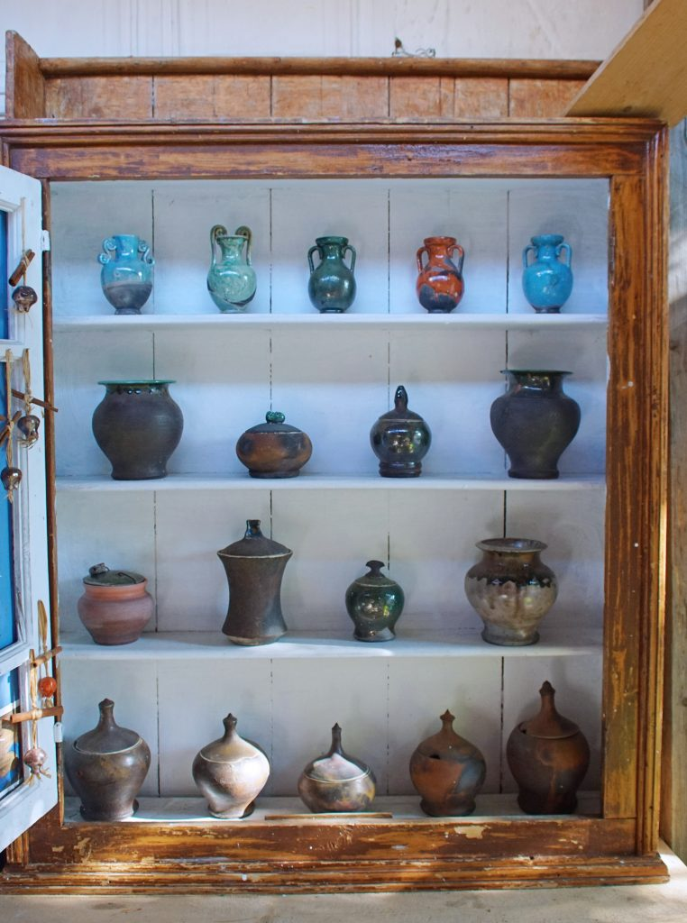 Beautiful handmade pottery can be found in many shops.