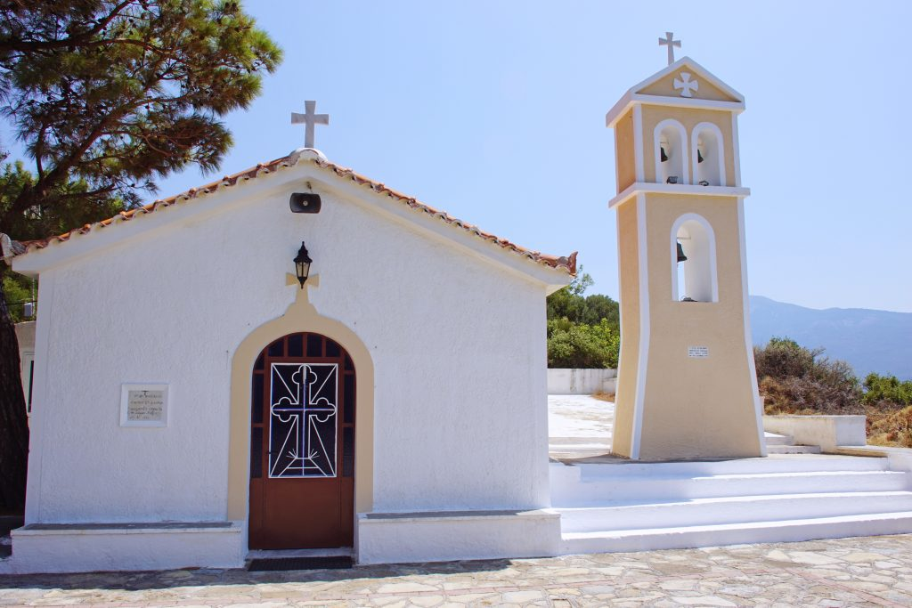 The Greek Orthodox church of Saint Nikolaos is modest, befitting an ascetic saint.