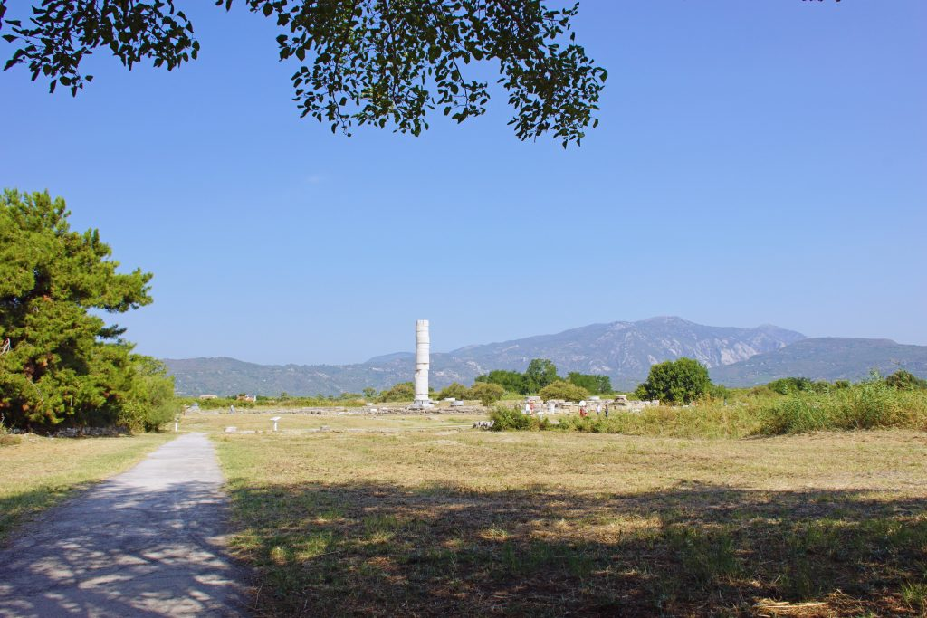 The only remaining column of the Great Temple of Hera.