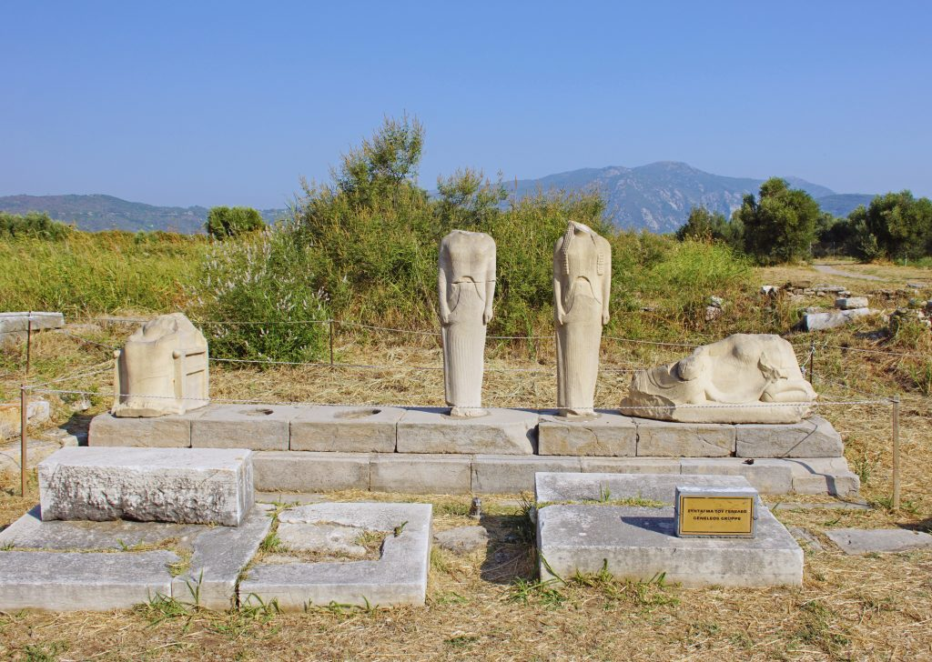 "The remains of the six statues in the ""Geneleos Group""."