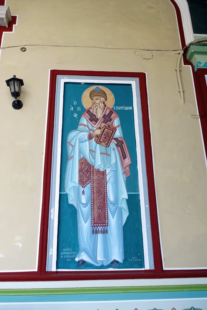 An image of Saint Spyridon decorates the church's exterior.