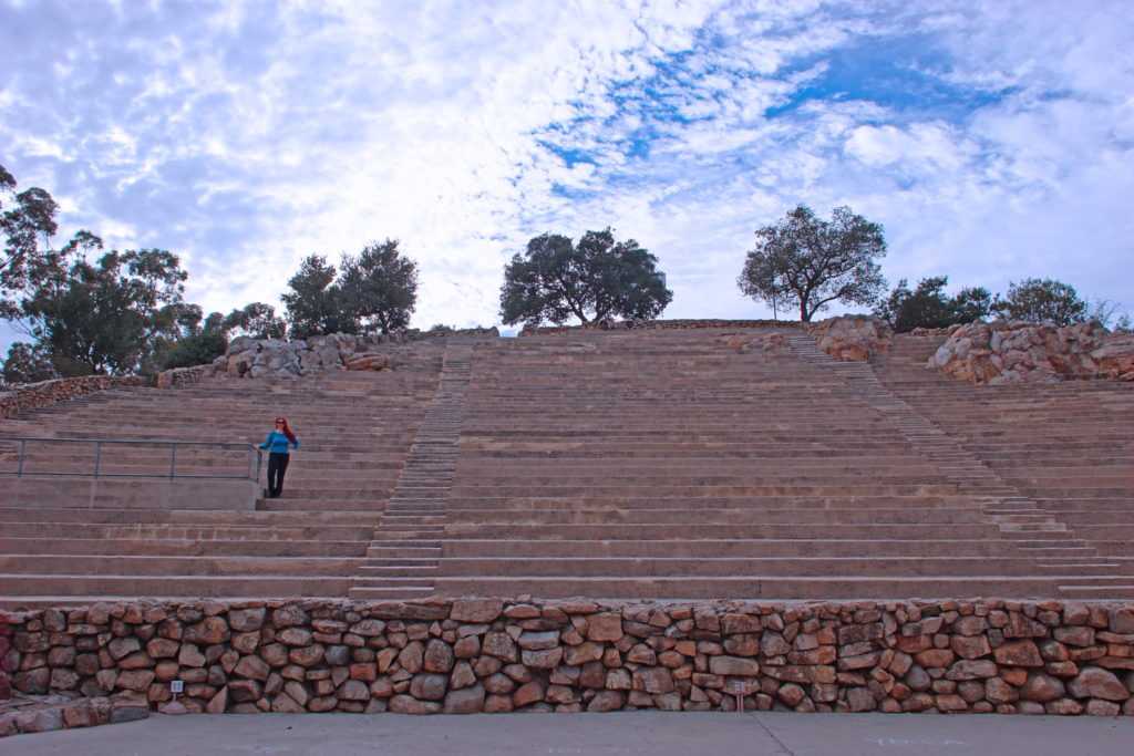 The stairs and seats of the Mt. Helix amphitheater. Bring a cushion....