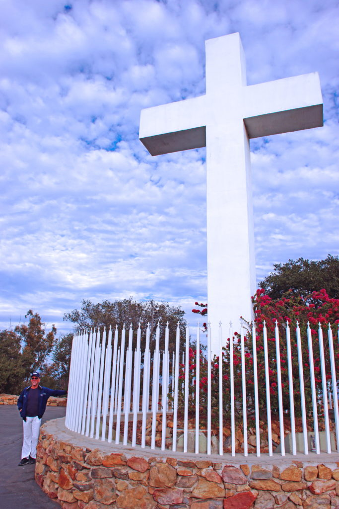 The Mt. Helix cross, surrounded by a fence crowned with crosses.