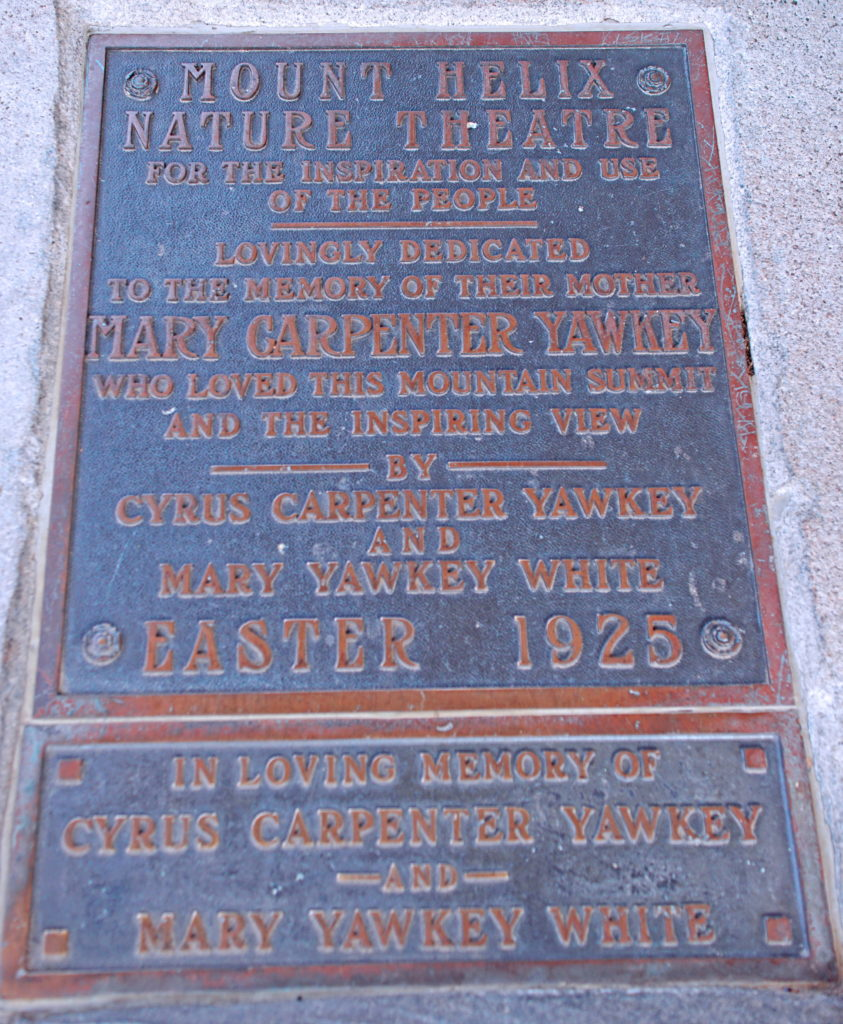 One of the many plaques at Mt. Helix.
