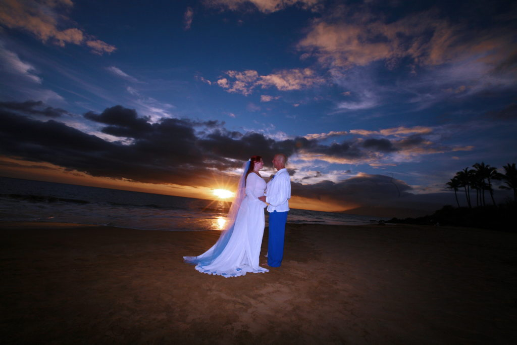 "Our first ""married"" sunset."