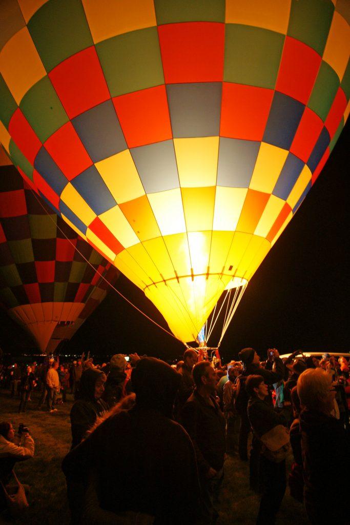 Twilight balloon glow on the ground.