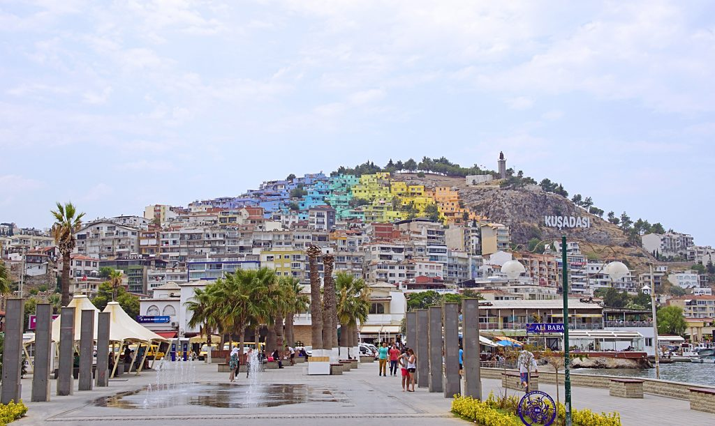 Colorful Kuşadası seen from the port.