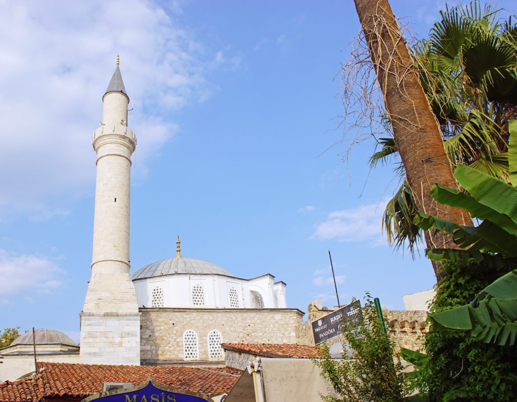 The Kaleiçi Mosque's minaret towers above the old part of the city.