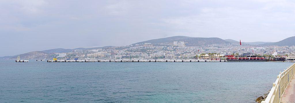 The view towards the north of Kuşadası harbor.