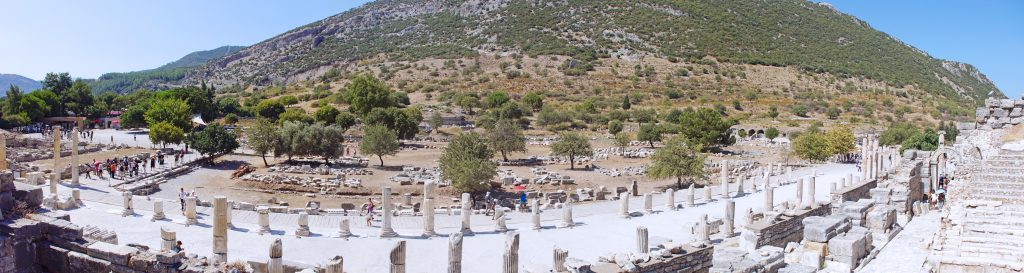 A panoramic view of Curetes Street.