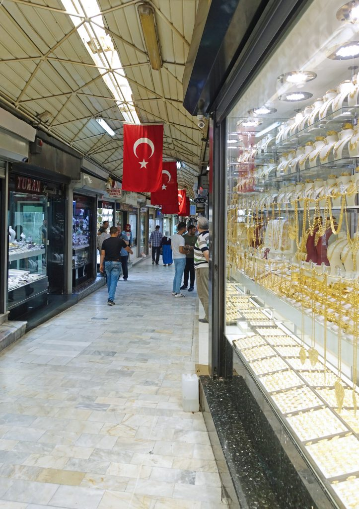 One of the seemingly endless paths through the bazaar.  Can you tell we are in Turkey?